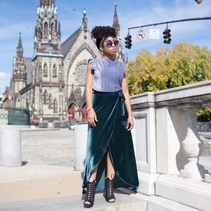 Forever 21 Green velvet wrap around maxi skirt